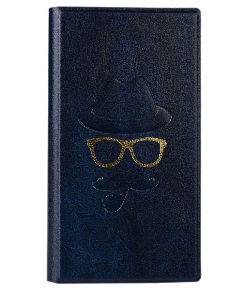 Jo Jo Moustache Series Leather Flip Cover For Lava 3G 415 - Dark Blue