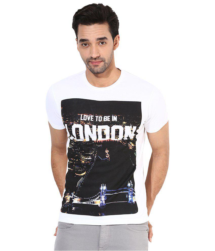 Monteil & Munero Good Looking White N Black Printed Round Neck T Shirt for Men