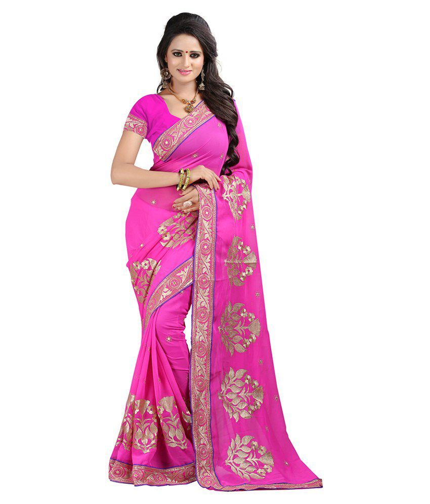 Bunny Sarees Pink Faux Georgette Saree