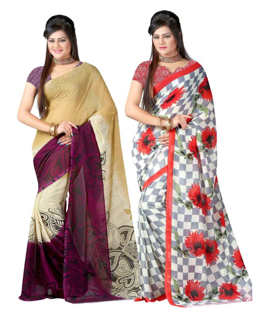Yashika Multi Colour Georgette Pack of 2