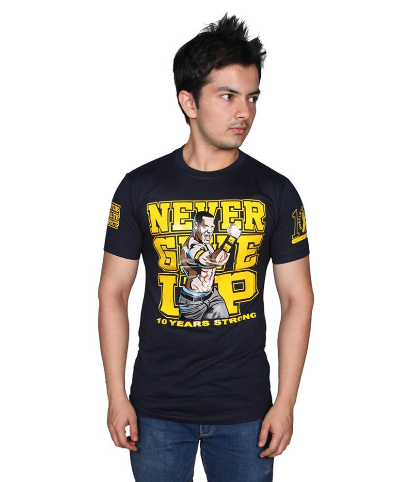6673e3985 Attitude Never Give Up Blue Printed Cotton T - Shirt - Buy Attitude Never  Give Up Blue Printed Cotton T - Shirt Online at Low Price - Snapdeal.com