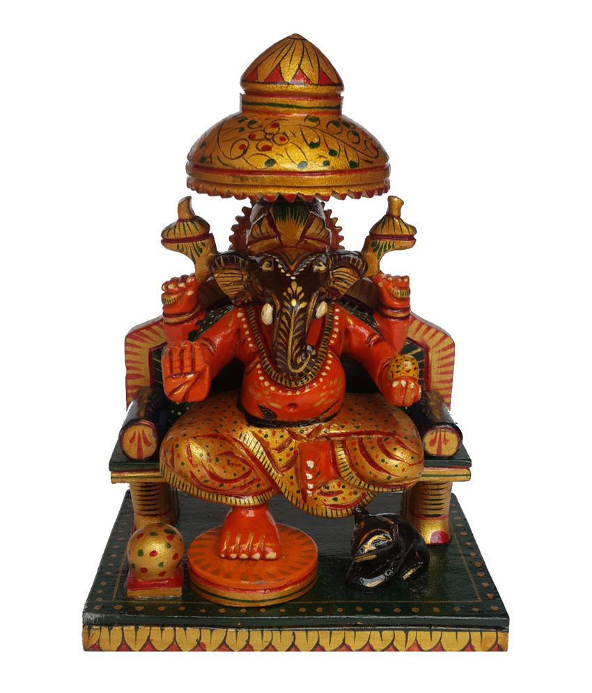 Divinecrafts Multicolour Beautifully Carved Wooden Sitting Lord Ganesha Idol