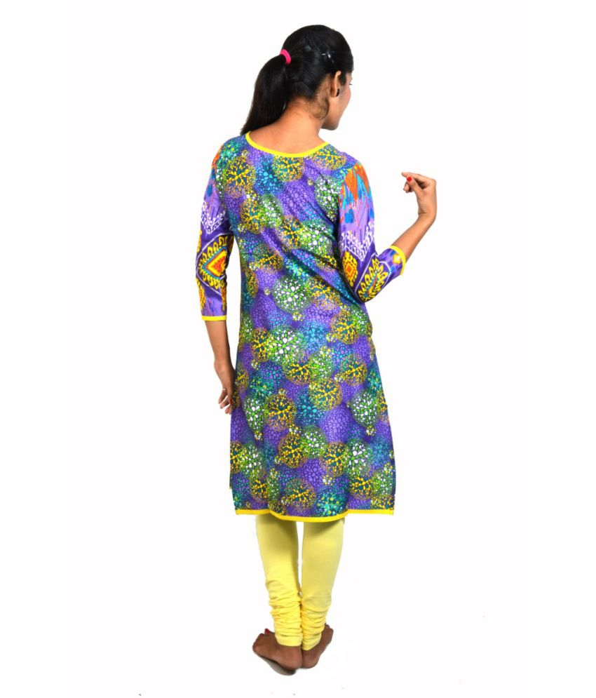 Gajban Purple Cotton Kurti