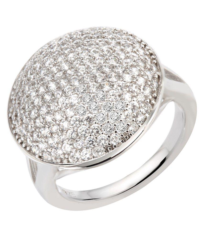 GemLN 92.5 Sterling Silver White Zircon Silver Ring