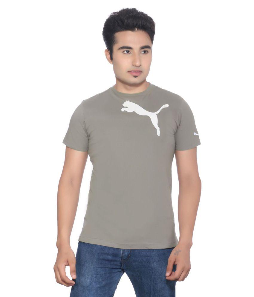 Puma Grey Cotton Slim Fit T-shirt