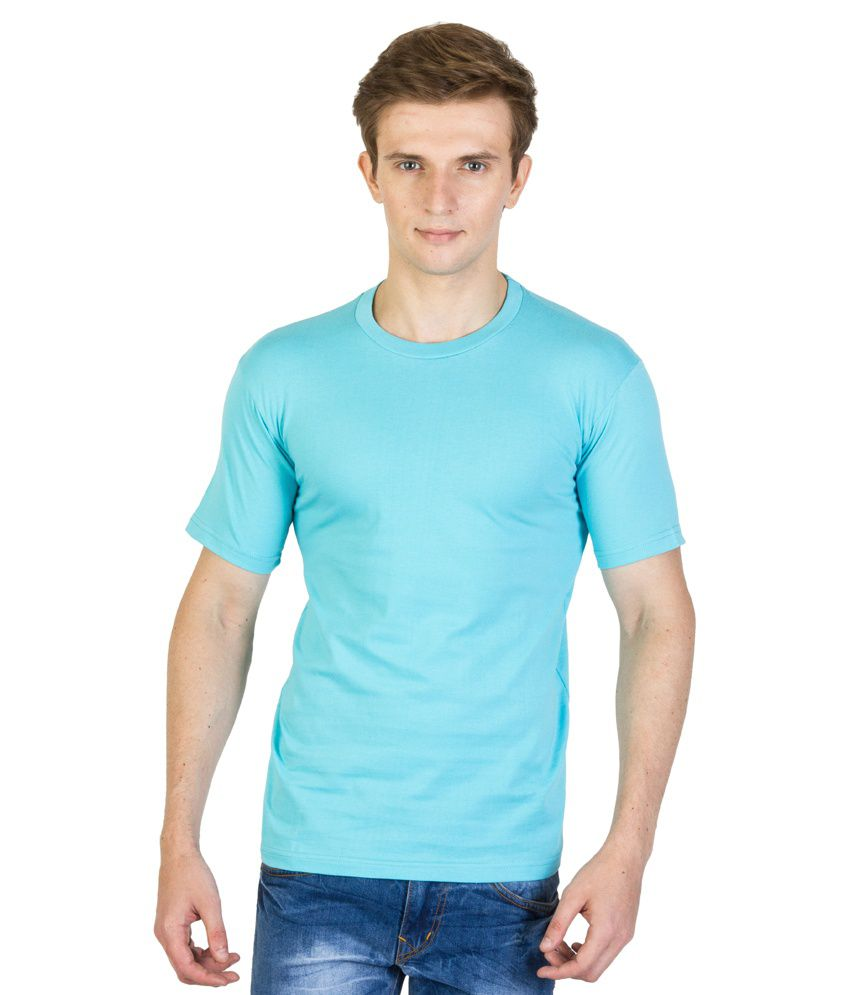 Value Shop India Blue Cotton Round Neck Half Sleeves T- Shirt