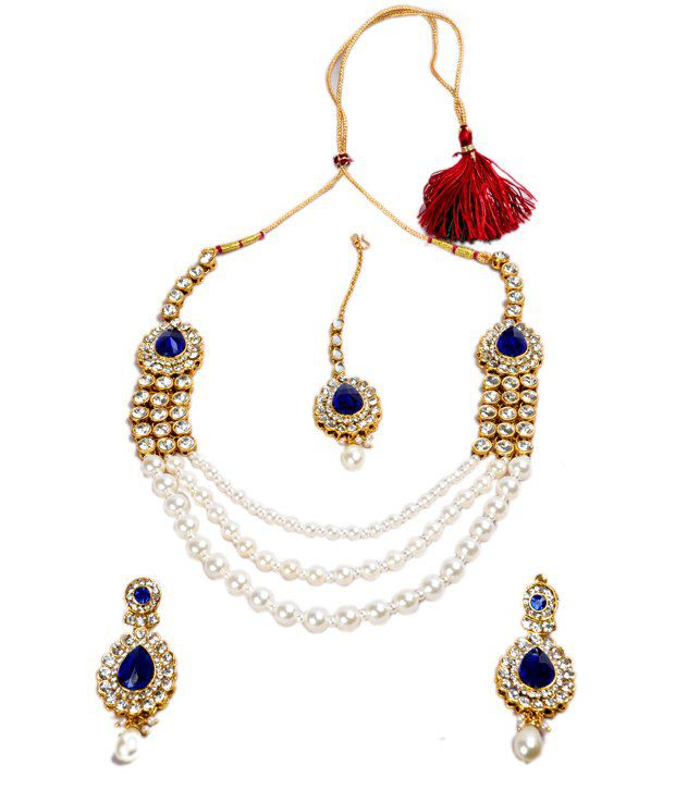 Akshada Creation Blue Alloy Traditional Antique Necklace Set With Maang Tika