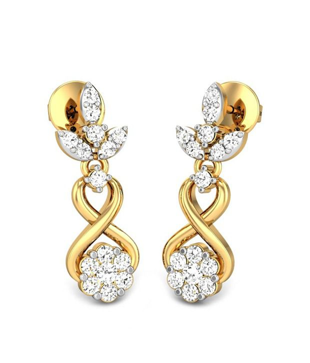 Candere Rakshika Diamond Earrings Yellow Gold 18K
