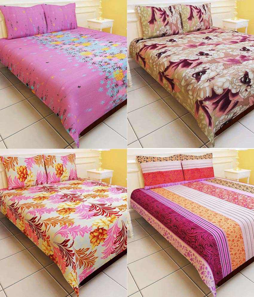 Enogme Combo Of 4 Floral Polyester Double Bed Sheet With 8 Pillow Cover