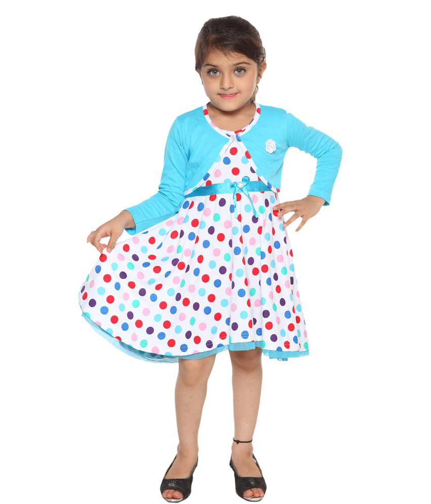 Lil Orchids Turquoise Cotton Polka Dots Printed with Shrug Girls Casual Dress