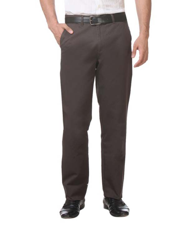 Live In Black Cotton Casual Trouser For Men