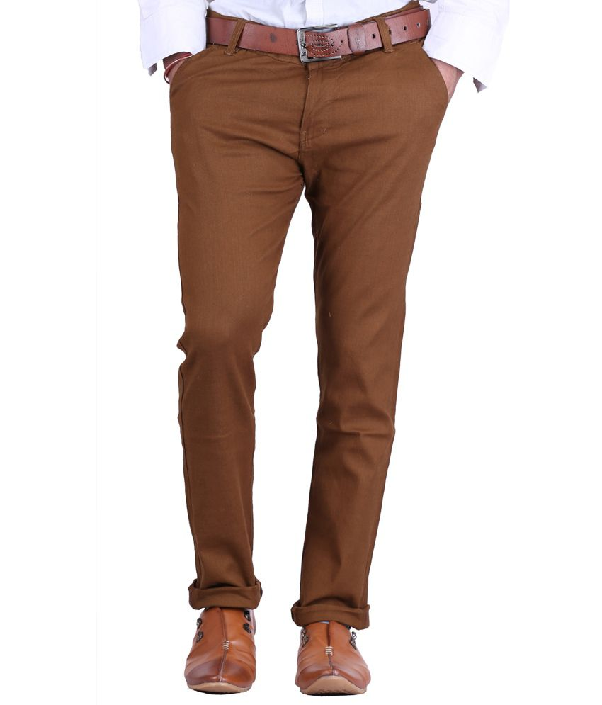 AVE Cotton Lycra Dark Brown Formal Trousers