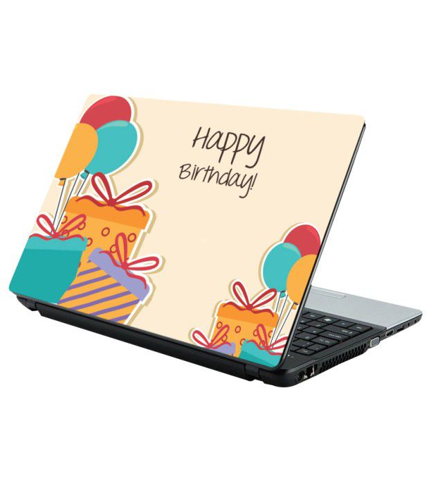 Amy Happy Birthday Gifts And Balloons Laptop Skin