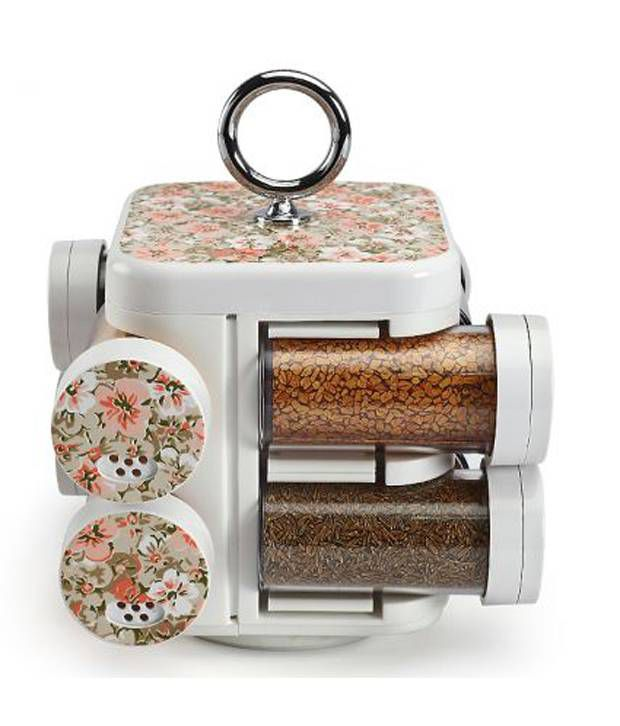 House of Gifts JVS Kitchen Mate Flower White Spice Rack Set of Eight Pieces