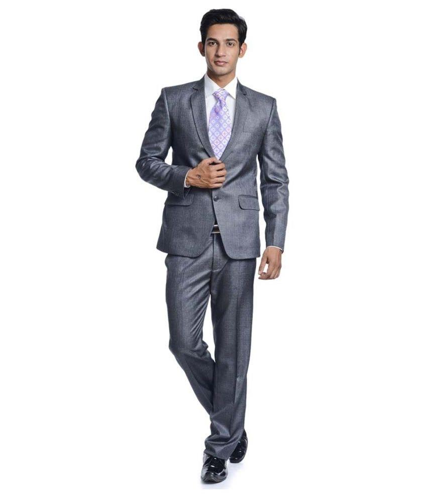 Promi Knitwear Gray Formal Suit