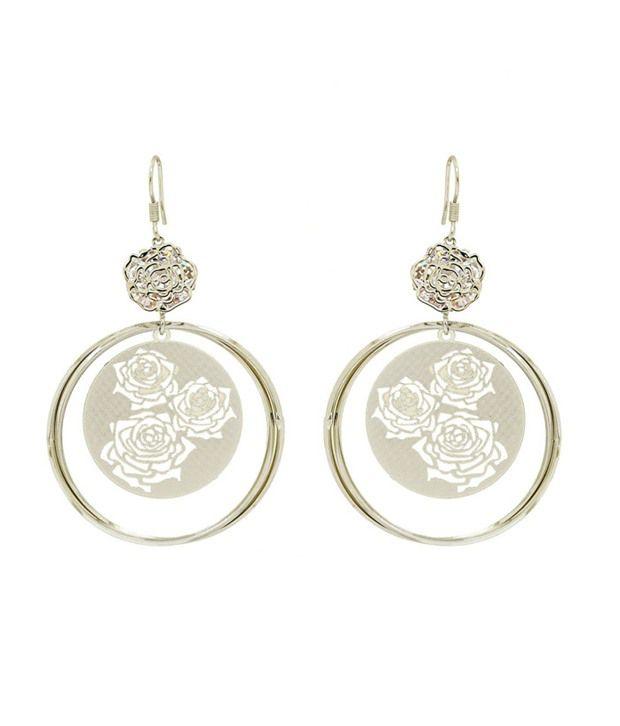Saashi's Closet Silver Wedding & Engagement Crystal Hanging Earrings