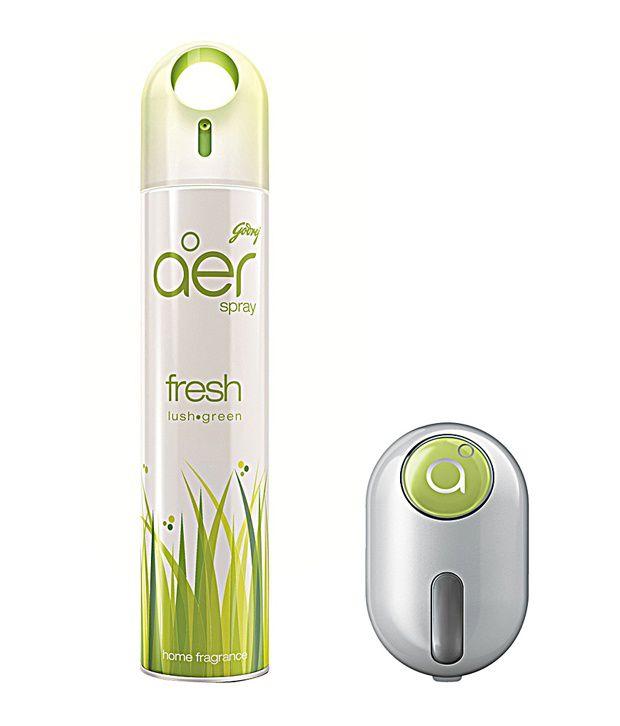 Godrej aer - Combo - Home Freshener Spray (300ml) + aer Click Car Freshener (10gm) - Fresh Lush Green