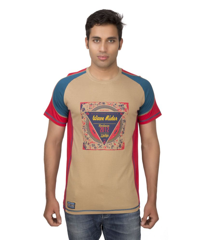 Ocean Race Beige Cotton Round Neck T Shirt For Men