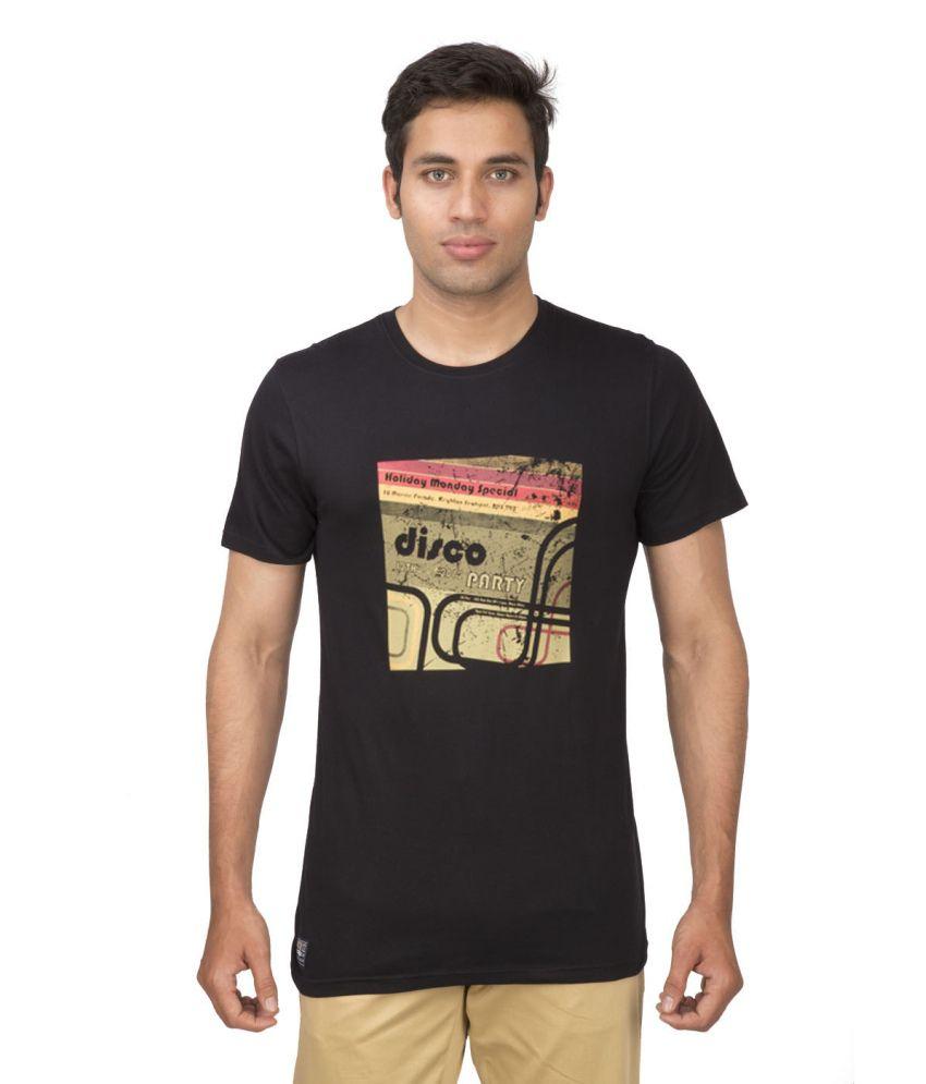 Ocean Race Black Cotton Round Neck T Shirt For Men
