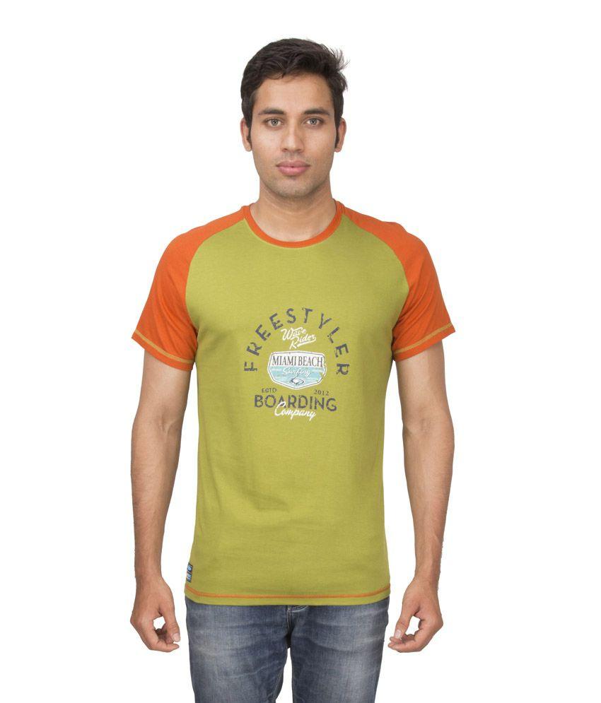 Ocean Race Green Cotton Round Neck T Shirt For Men