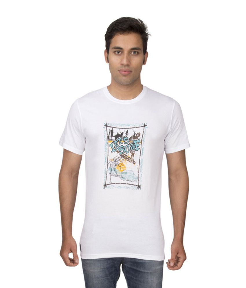 Ocean Race White Cotton Round Neck T Shirt For Men