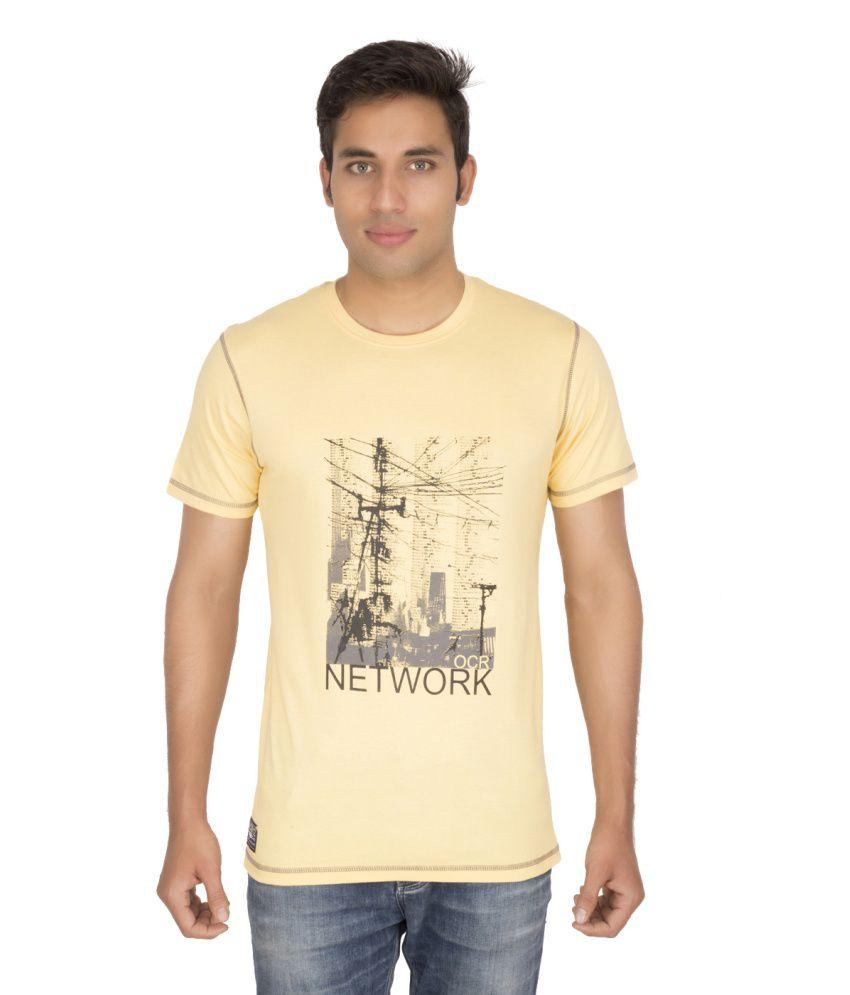 Ocean Race Yellow Cotton Round Neck T Shirt For Men