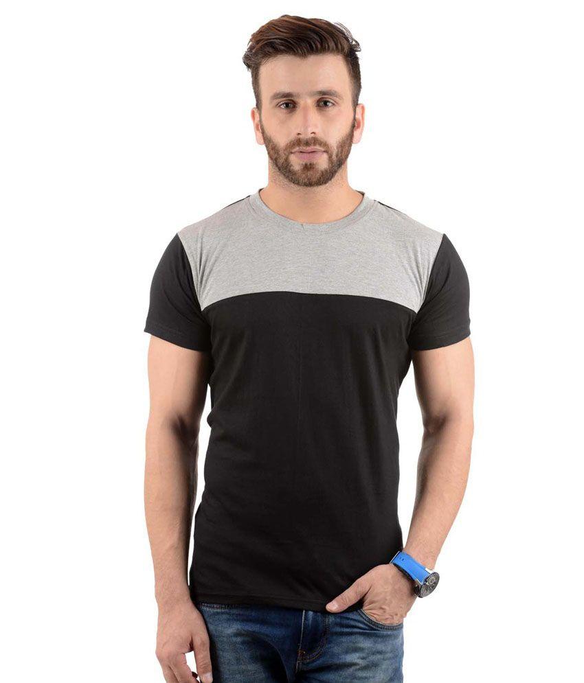 Radbofin Black Cotton Half T Shirt