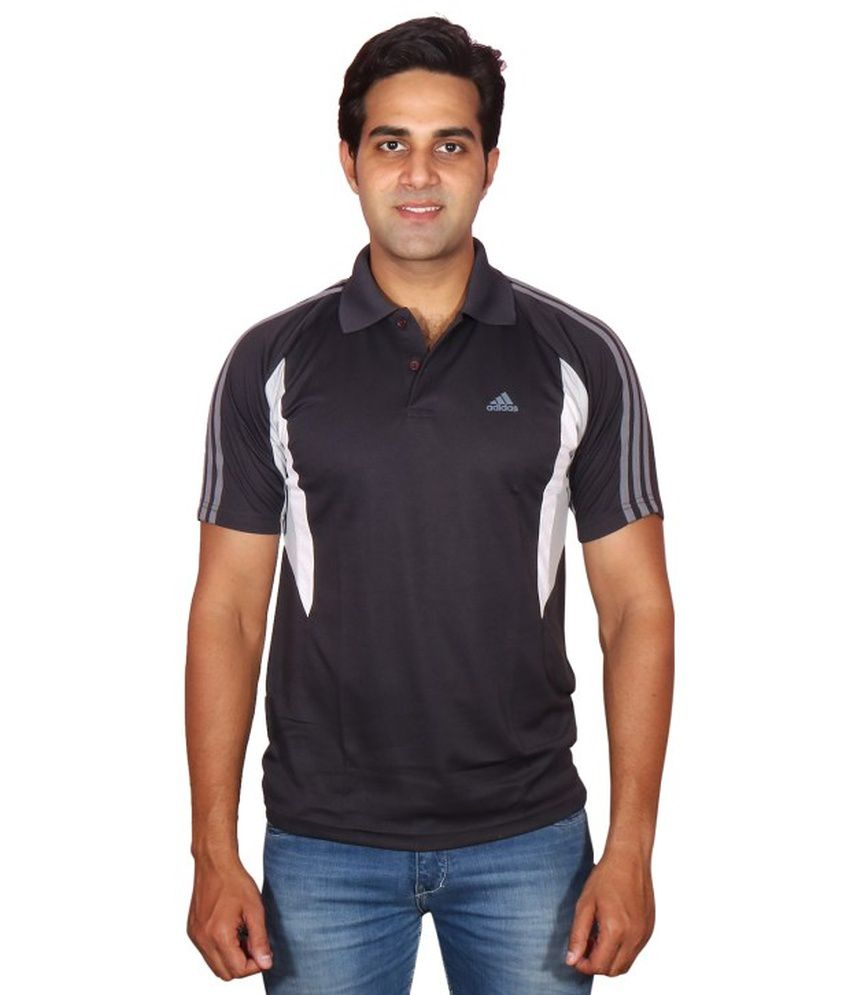Adidas Black Polyester Polo T Shirt