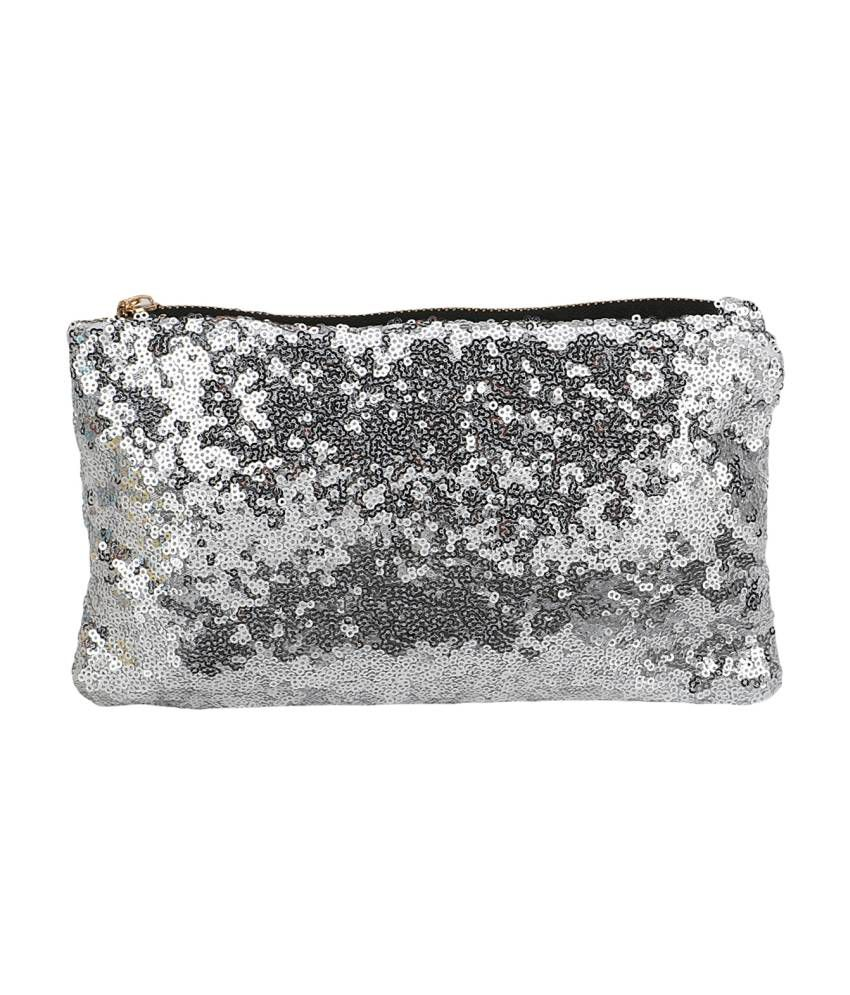 Bling It On Silver Sequins Zipper Women's Clutch