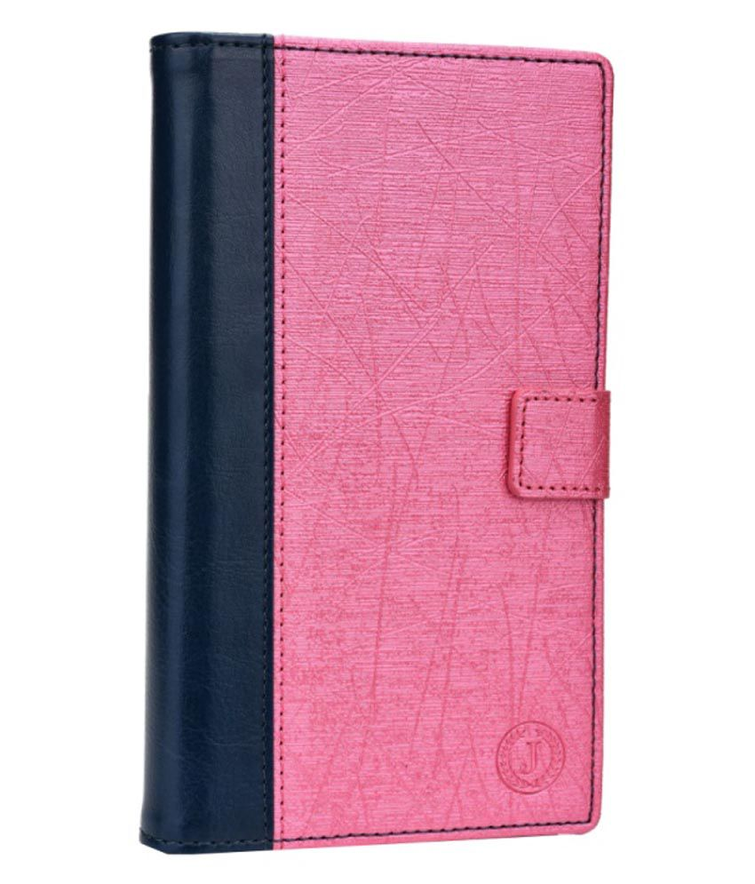 Jo Jo Cover Saturn Series Leather Pouch Flip Case For Intex Aqua Star II HD - Pink