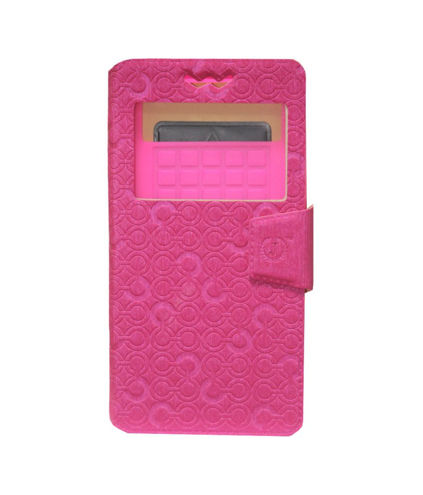 Jo Jo Pouch Flip Cover With Silicon Holder For Xolo Q800 X-edition Exotic - Pink