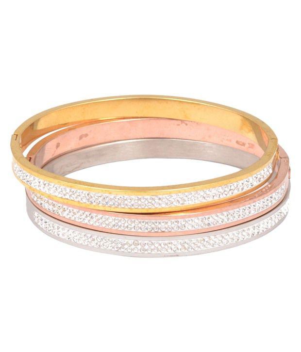 Magic Stones 18kt Gold and Rodium Coated Bracelet