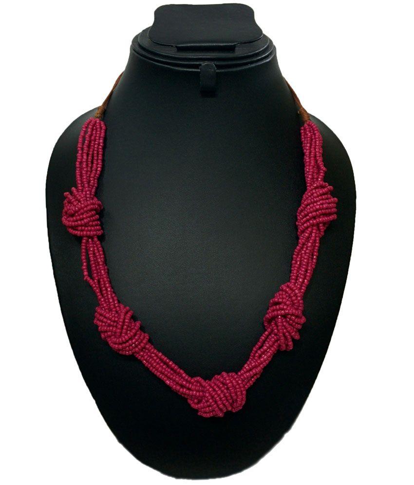 Treasure World's Fuschia Seed Bead Adjustable Knotting Necklace