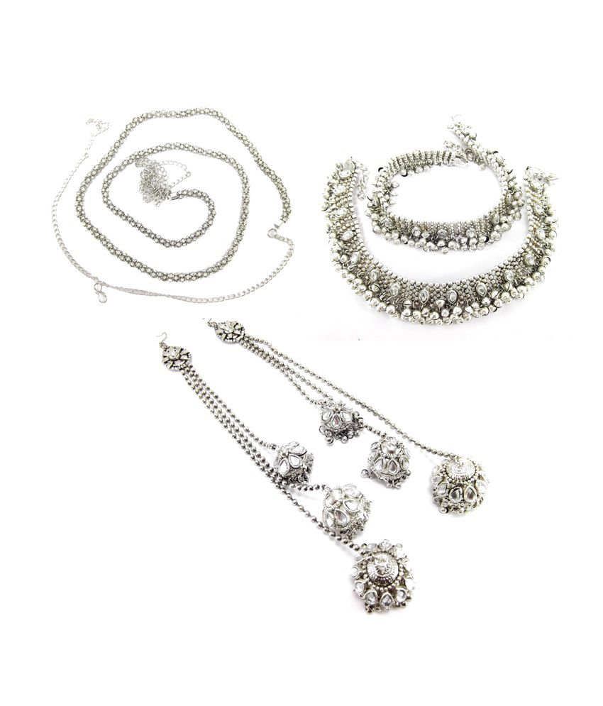 9Blings Silver Alloy Earring With Anklet And Belt Combo