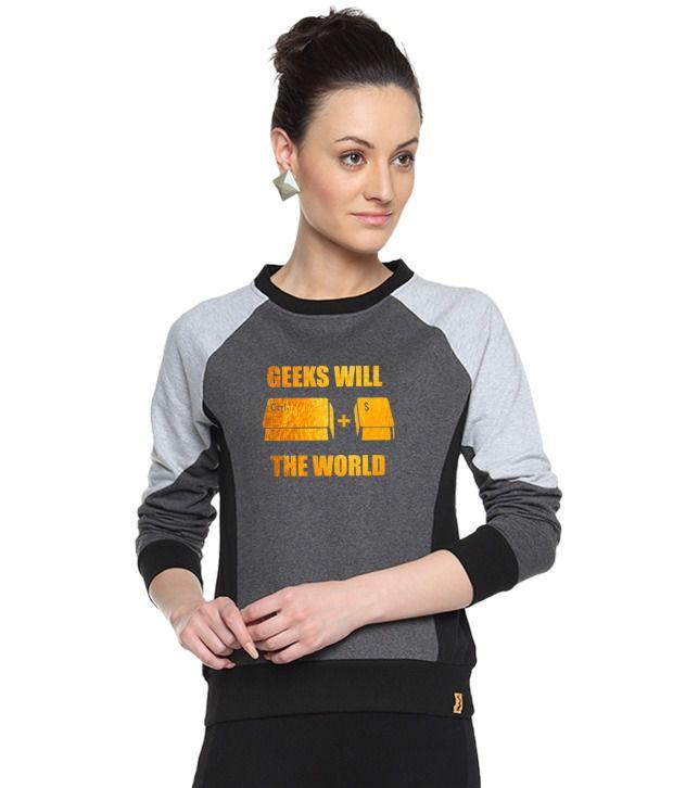 Campus Sutra Gray Cotton - Fleece Non Zippered