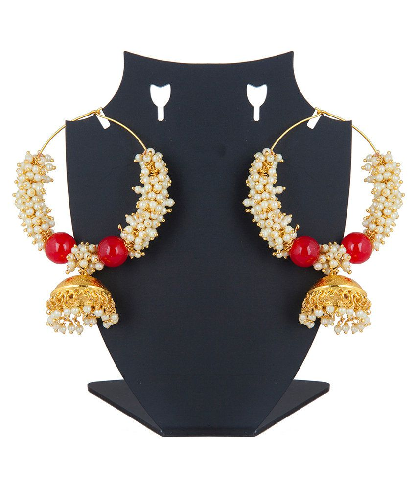 Inaya Red Gold Plated Polki Jhumkis