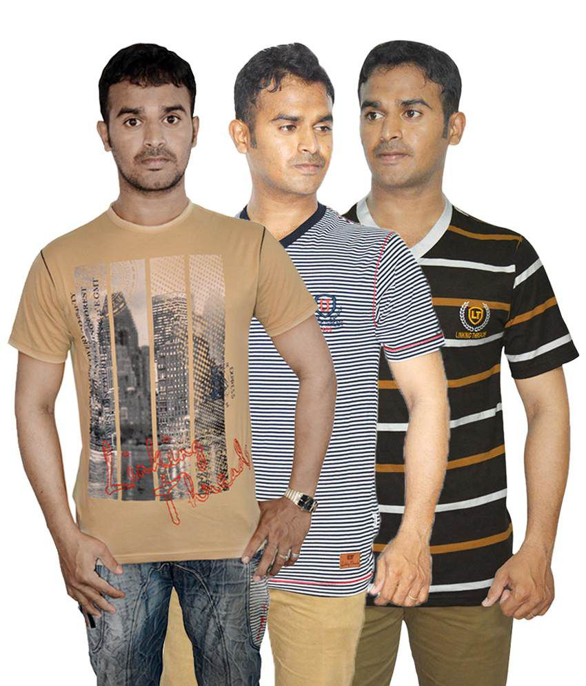 Linking Threads Affordable Beige, Brown & Gray Pack of 3 T Shirts for Men