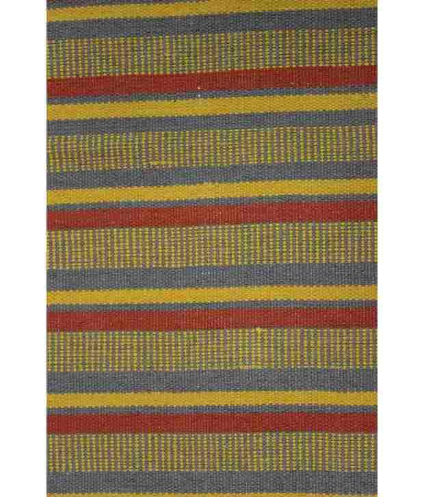 Bj Creations Black And Orange Cotton Stripes Rug