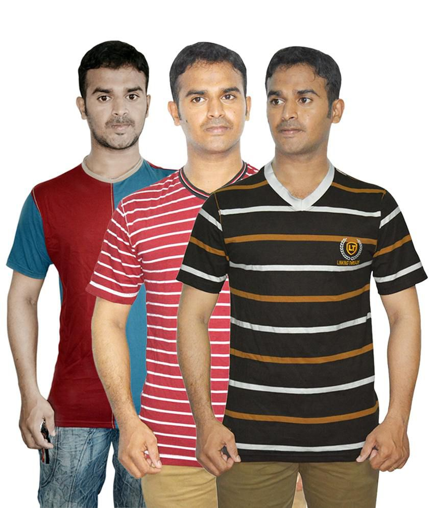 Linking Threads Charming Blue, Brown & Red Pack of 3 T Shirts for Men