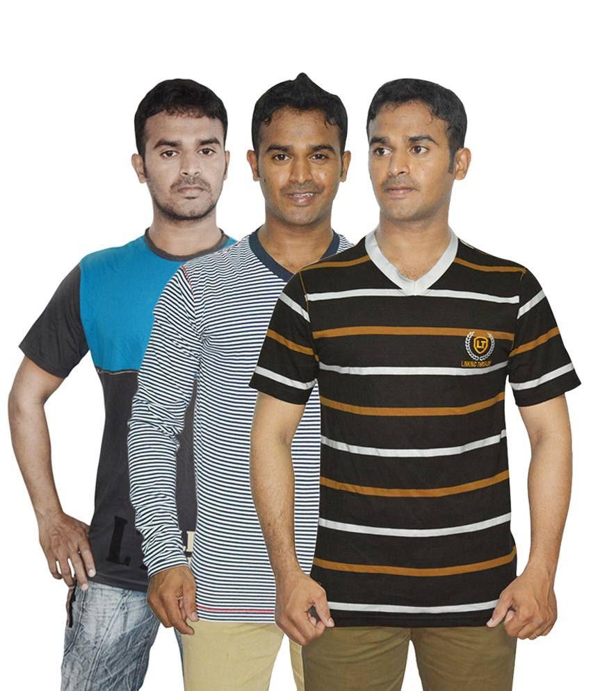 Linking Threads Splendid Blue, Brown & Gray Pack of 3 T Shirts for Men