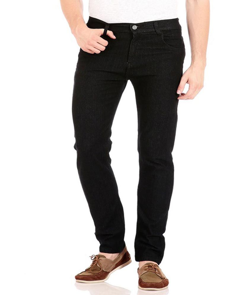 Masterly Weft Black Cotton Regular Men's Jeans