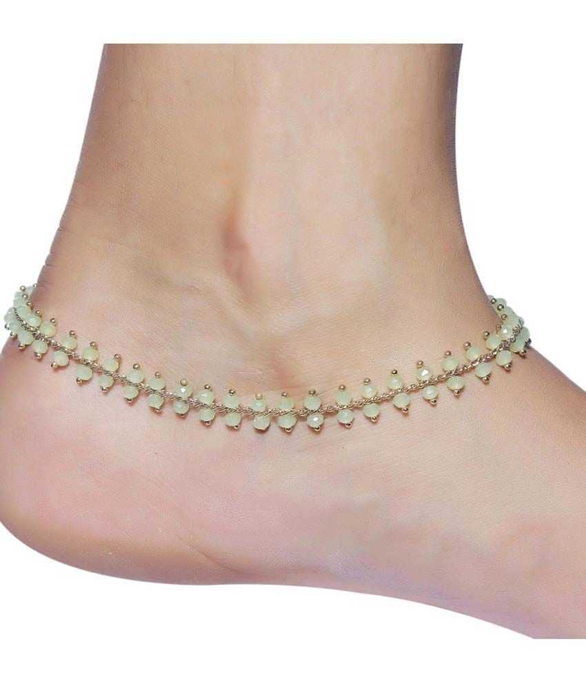 Much More Beautiful Light Green Beads Gold Plated 1 Pair Anklet