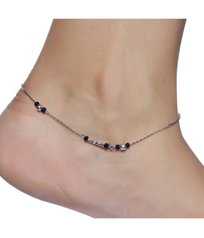 Much More Beauty Black Beads Silver Plated 1 Pair Anklet