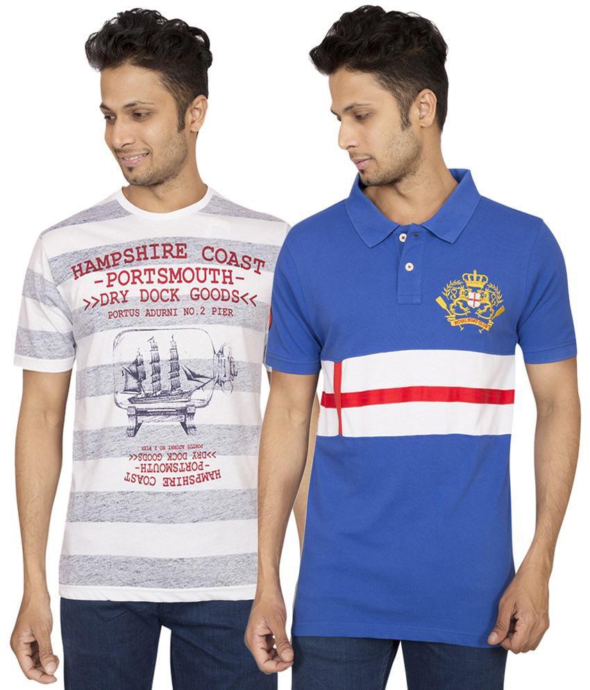 Red Line Astounding Set of White T Shirt & Blue Polo T Shirt for Men