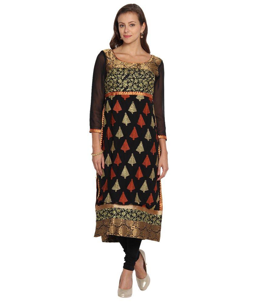 Folklore Black & Golden Long Straight Kurta for Women