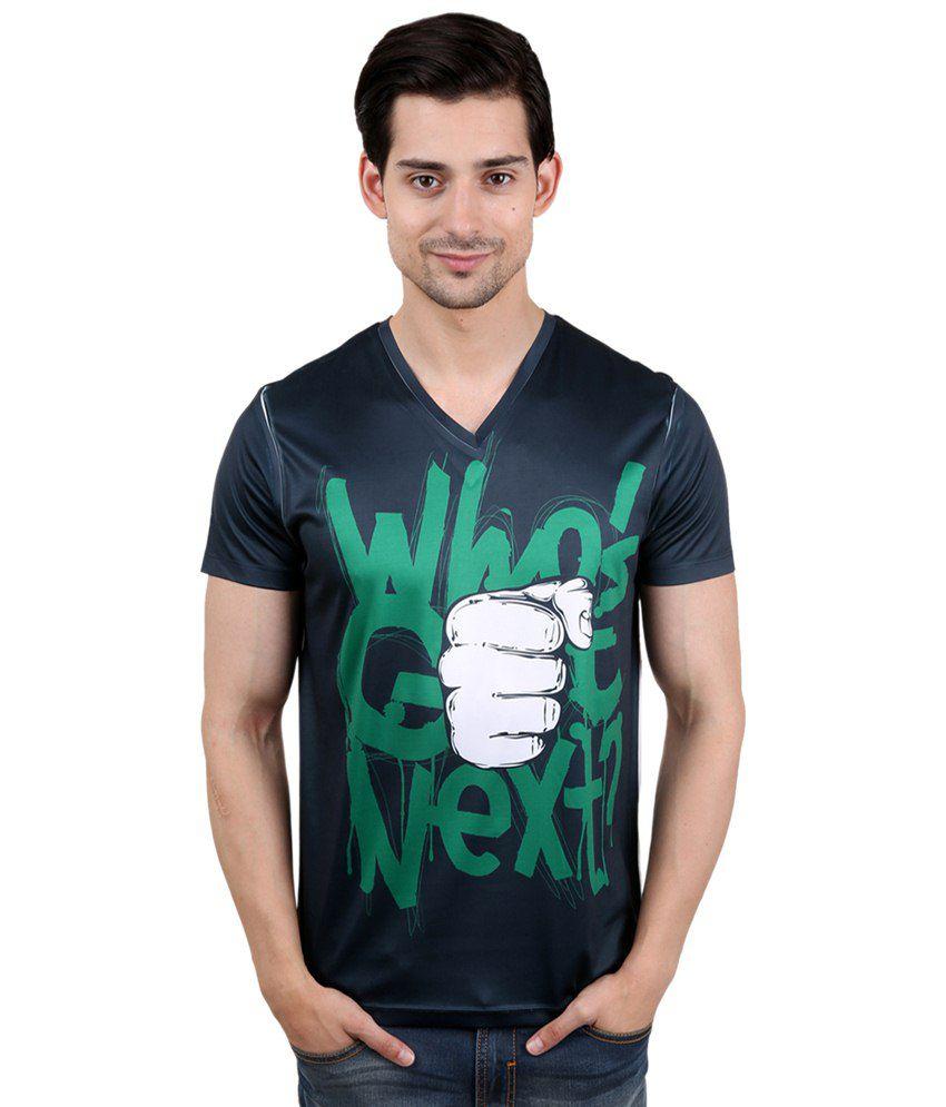 Freecultr Express Impressive Black & White V Neck Half Sleeve T Shirt for Men