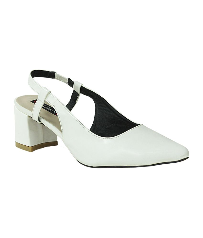 Get Glamr White Faux Leather Heeled Sandals
