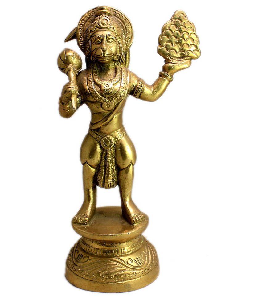 Krishna Mart Brown Brass Hanuman Idol