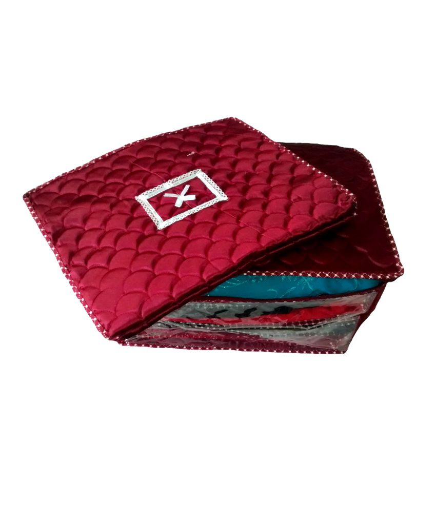 Ombags&more Maroon Saree Cover - Set Of 2