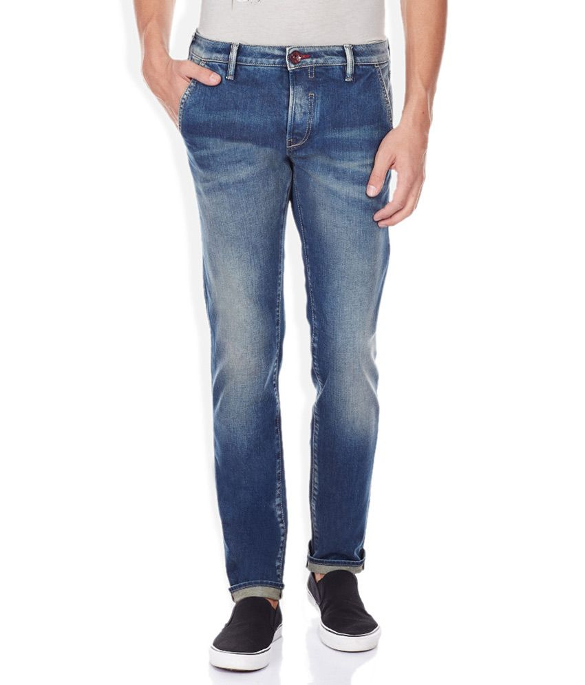 GAS Blue Light Wash Skinny Fit Jeans